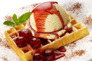 Belgian waffle with extra topping