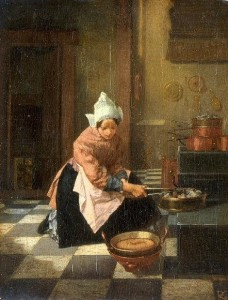 Woman heating a waffle iron above a fire